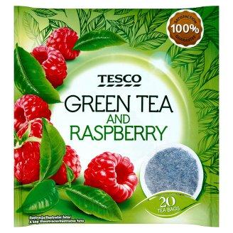 Tesco Herbata zielona o smaku malinowym 40 g
