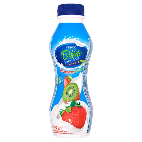 Tesco Bifido Jogurt pitny truskawka i kiwi 300 g