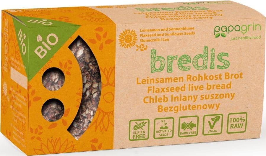 Chleb lniany suszony z słonecznikiem i lnem bezglutenowy BIO 70 g - PAPAGRIN